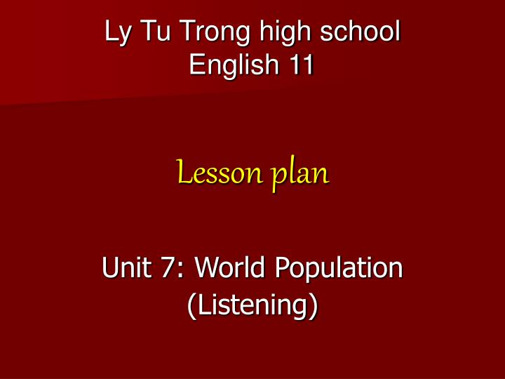 Ly tu trong high school english 11