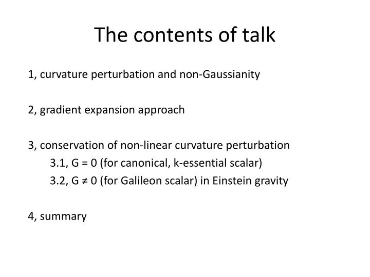 The contents of talk