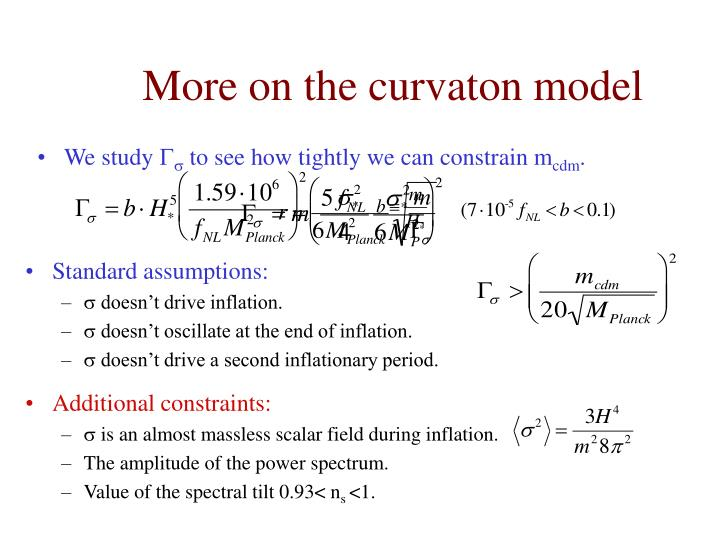 More on the curvaton model