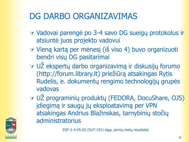 DG DARBO ORGANIZAVIMAS
