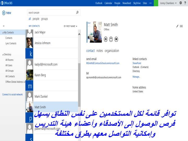 توافر قائمة لكل المستخدمين على نفس النطاق يسهل فرص الوصول إلى الأصدقاء وأعضاء هيئ
