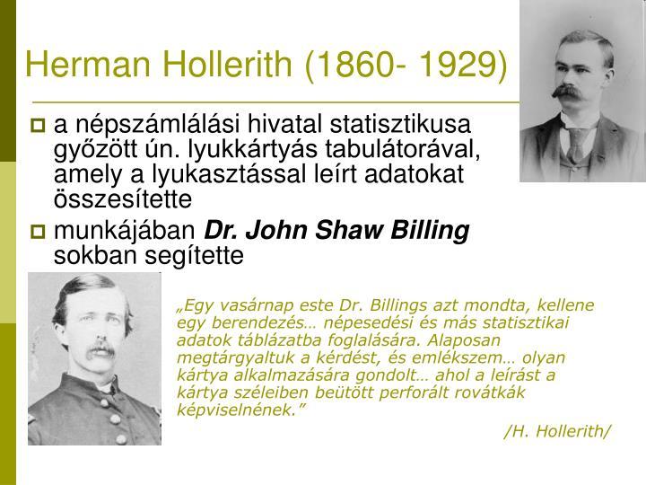 Herman Hollerith (1860- 1929)