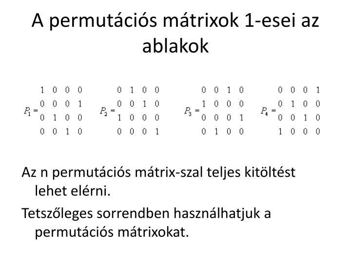 A permutációs mátrixok 1-esei az ablakok