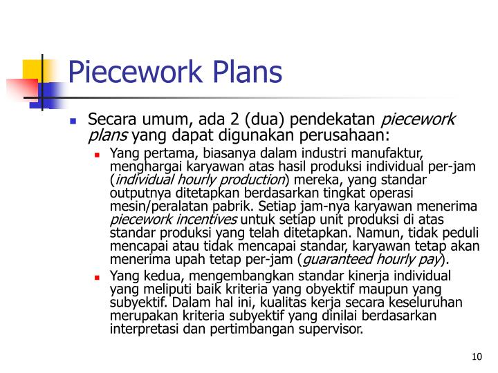 Piecework Plans