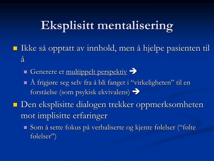 Eksplisitt mentalisering