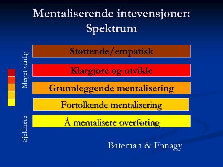 Mentaliserende intevensjoner: Spektrum