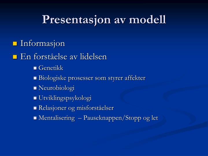 Presentasjon av modell