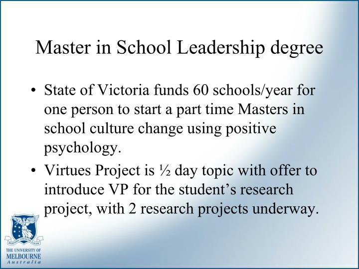 Master in School Leadership degree