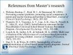 references from master s research