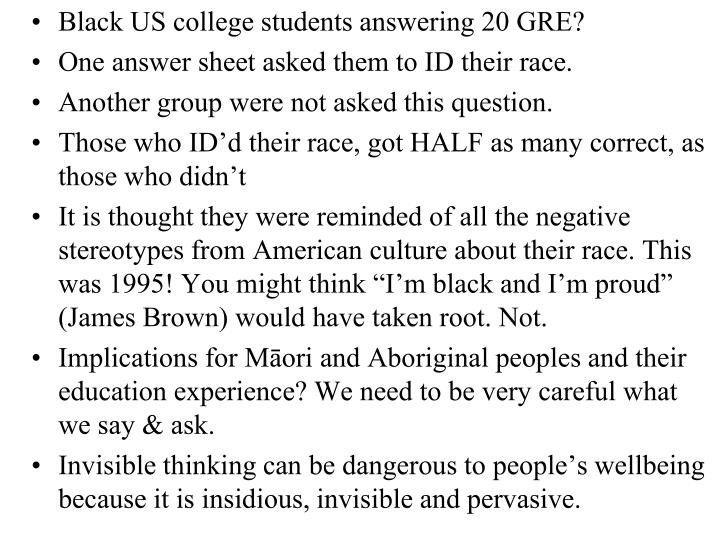 Black US college students answering 20 GRE?