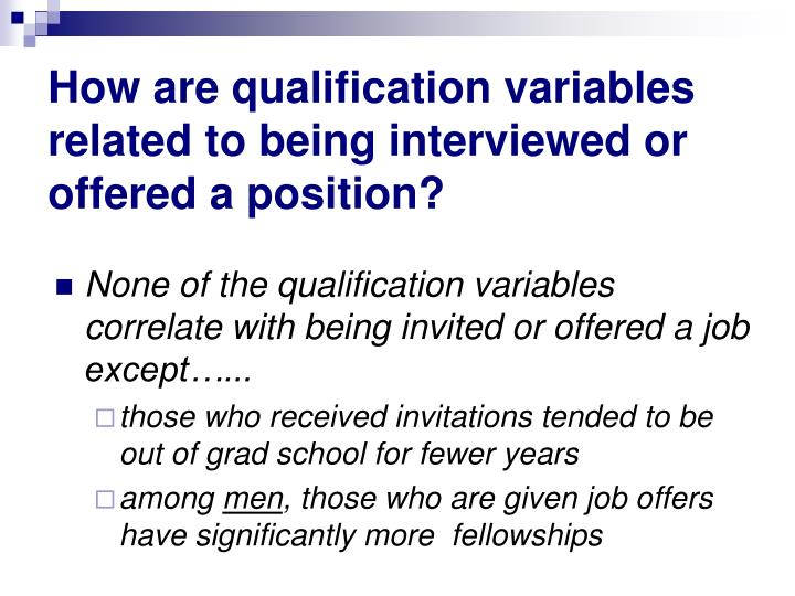 How are qualification variables related to being interviewed or offered a position?