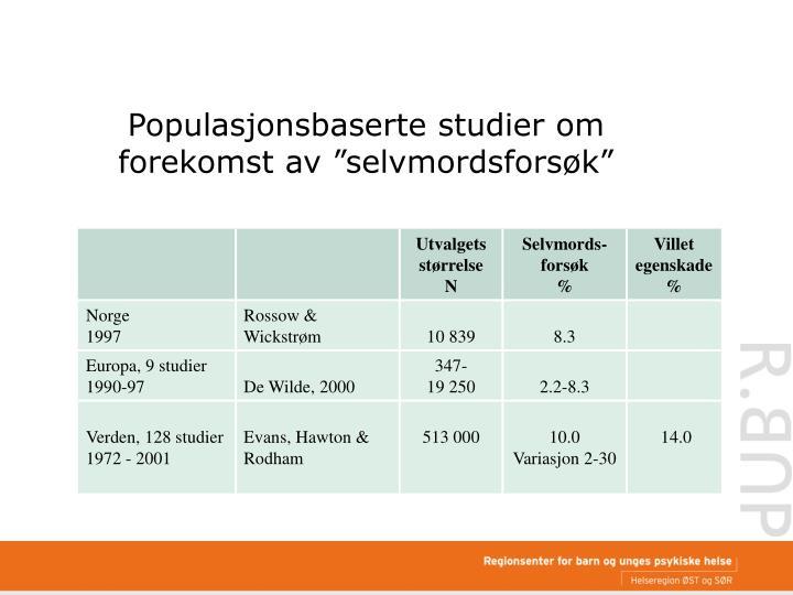 """Populasjonsbaserte studier om forekomst av """"selvmordsforsøk"""""""
