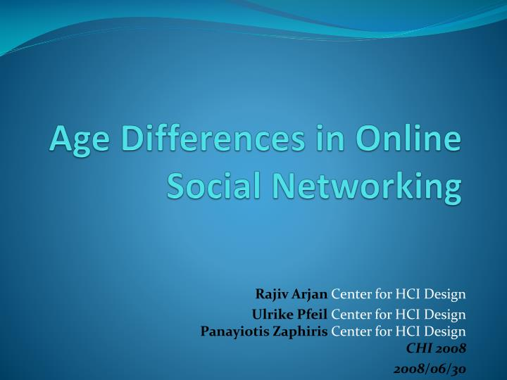 Age Differences in Online