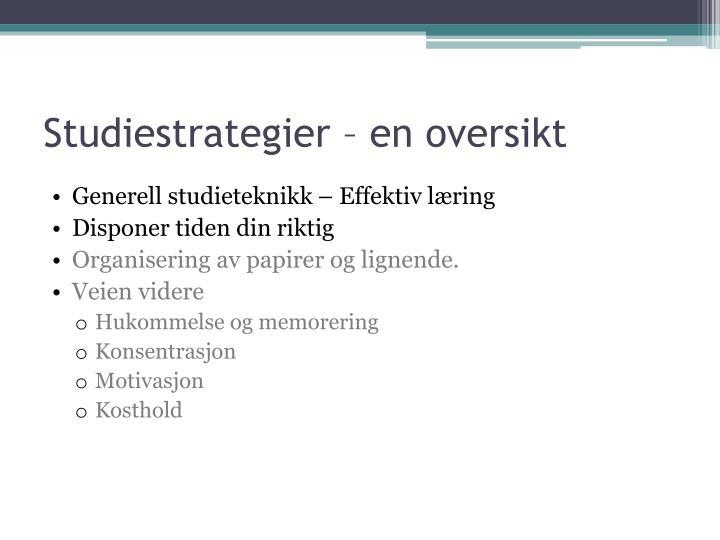 Studiestrategier – en oversikt