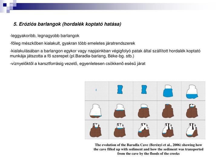 5. Eróziós barlangok (hordalék koptató hatása)