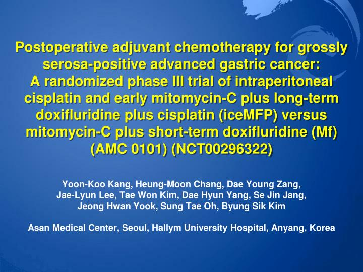 Postoperative adjuvant chemotherapy for grossly