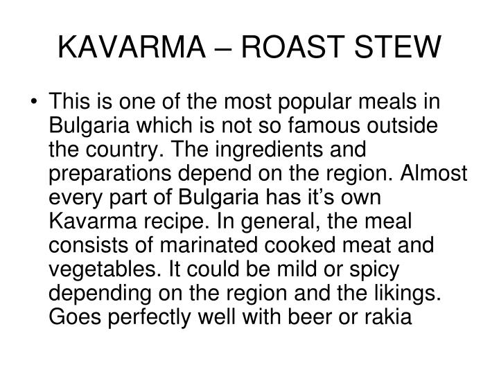 KAVARMA – ROAST STEW
