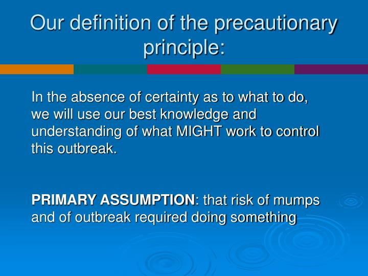 Our definition of the precautionary principle: