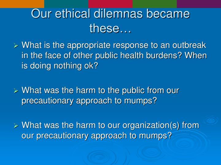 Our ethical dilemnas became these…
