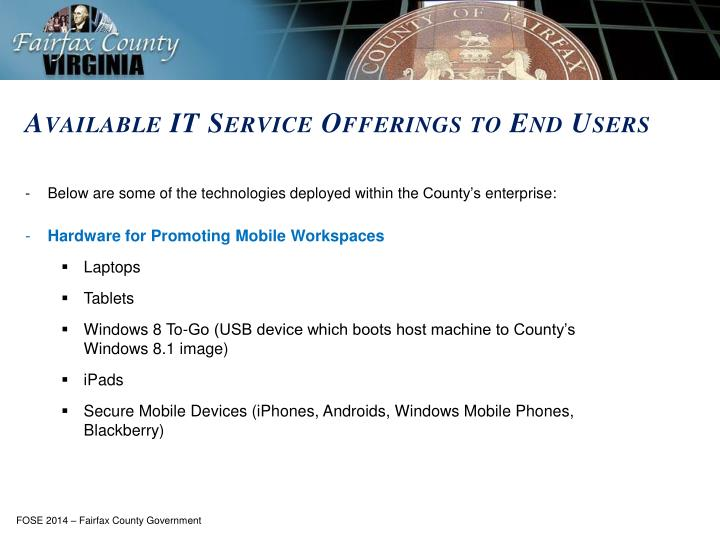 Available IT Service Offerings to End Users