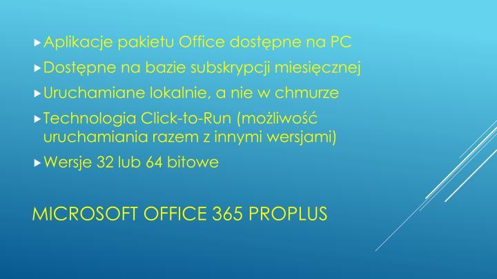 Aplikacje pakietu Office dostępne na PC