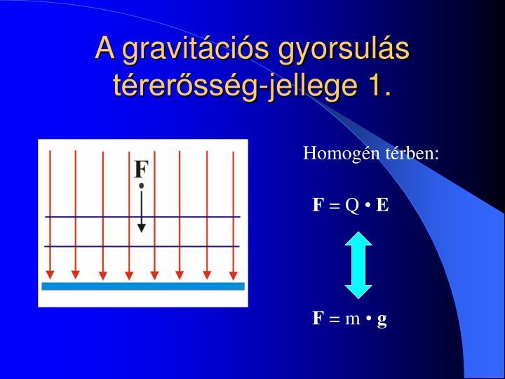A gravitációs gyorsulás térerősség-jellege 1.