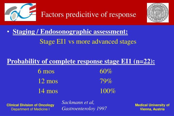 Factors predicitive of response