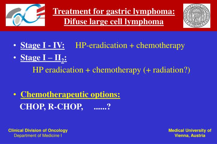 Treatment for gastric lymphoma: Difuse large cell lymphoma