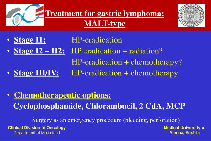 Treatment for gastric lymphoma: