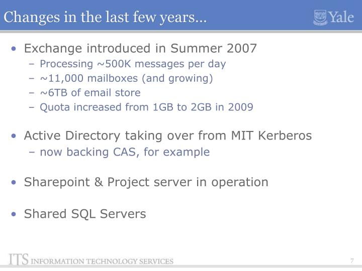 Changes in the last few years…