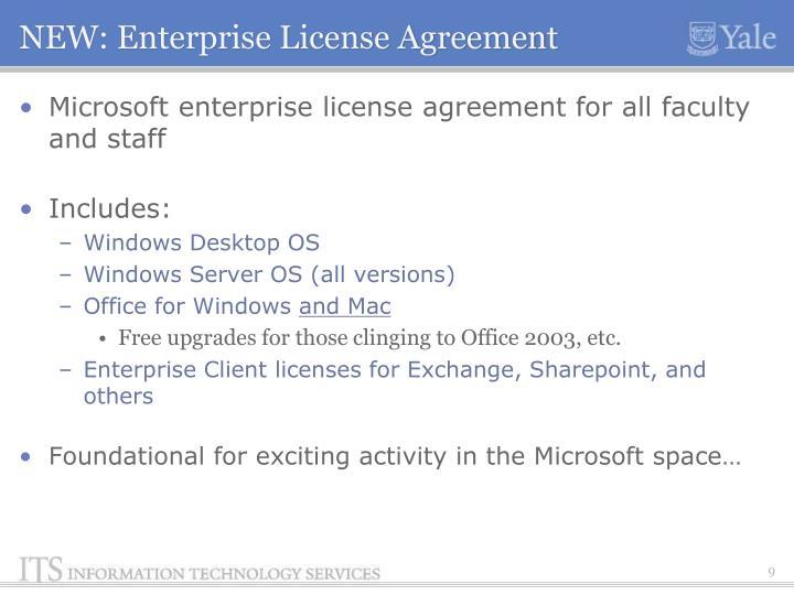 NEW: Enterprise License Agreement
