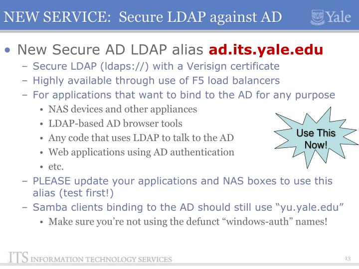 NEW SERVICE:  Secure LDAP against AD