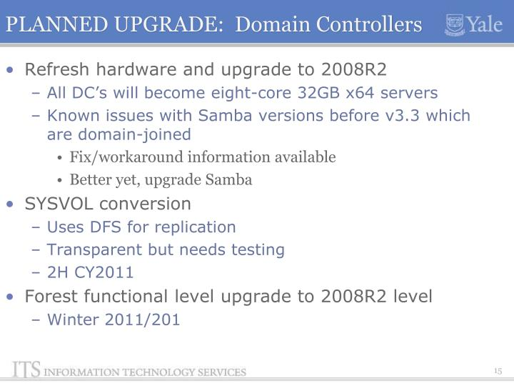 PLANNED UPGRADE:  Domain Controllers