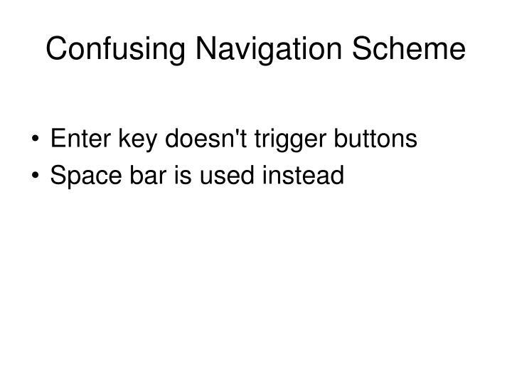 Confusing Navigation Scheme