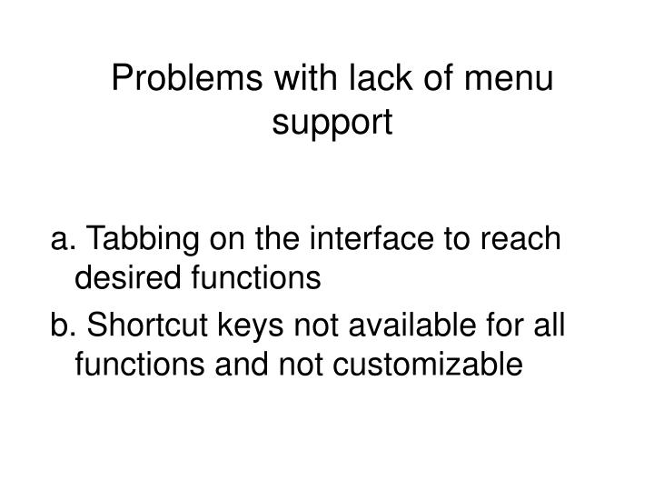 Problems with lack of menu support