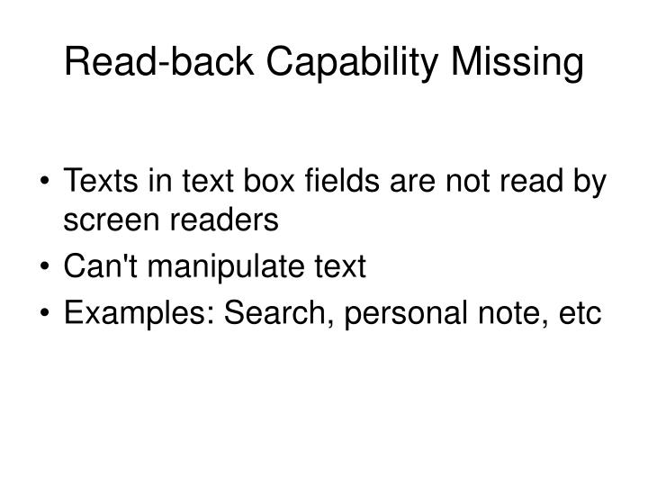 Read-back Capability Missing