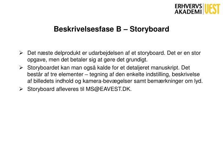Beskrivelsesfase B – Storyboard