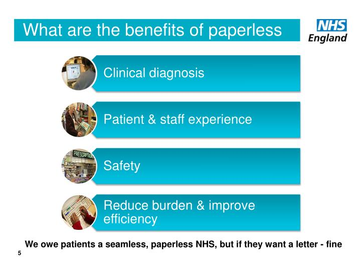 What are the benefits of paperless to the NHS?