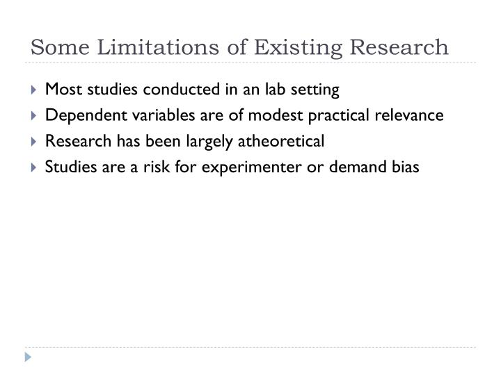 Some Limitations of Existing Research