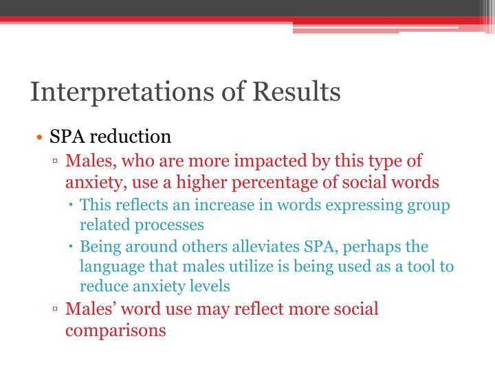 Interpretations of Results