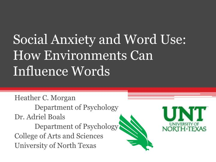 Social Anxiety and Word Use: How Environments Can Influence Words