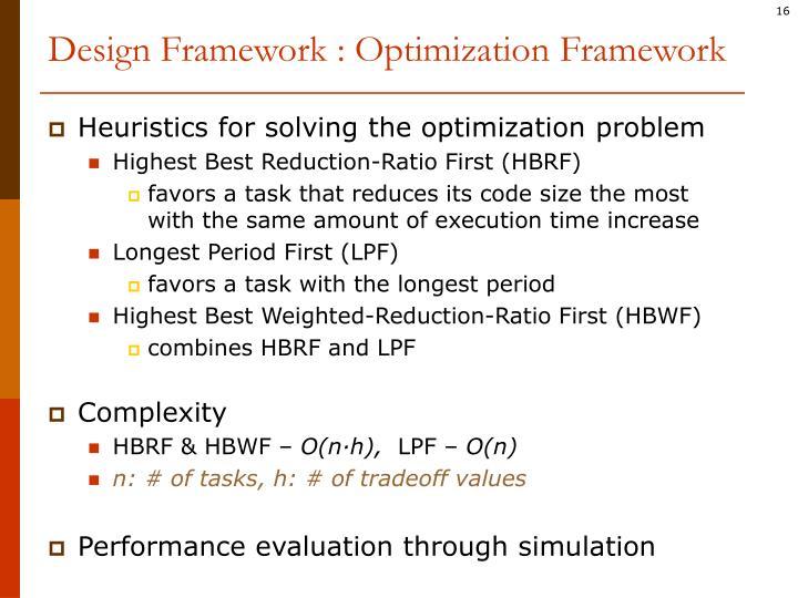 Design Framework : Optimization Framework