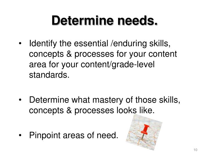 Identify the essential /enduring skills, concepts & processes for your content area for your content/grade-level standards.