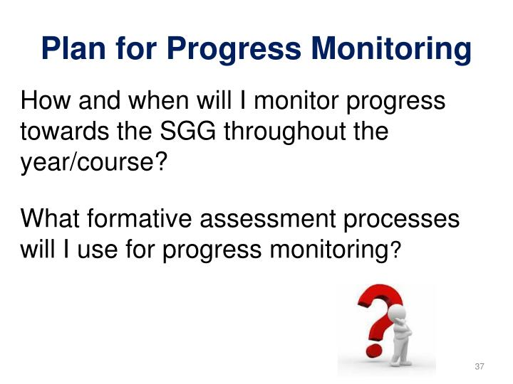 How and when will I monitor progress towards the SGG throughout the year/course?