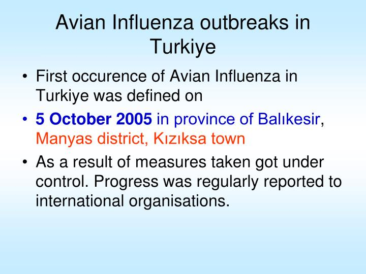 Avian Influenza outbreaks in Turkiye