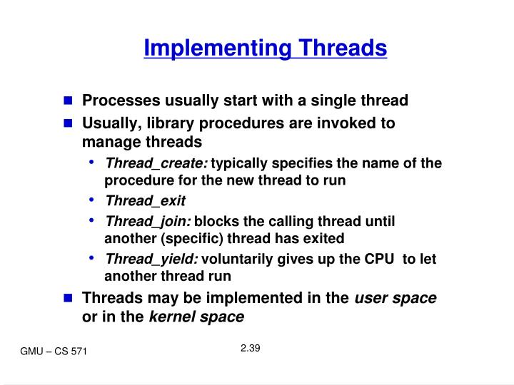Implementing Threads