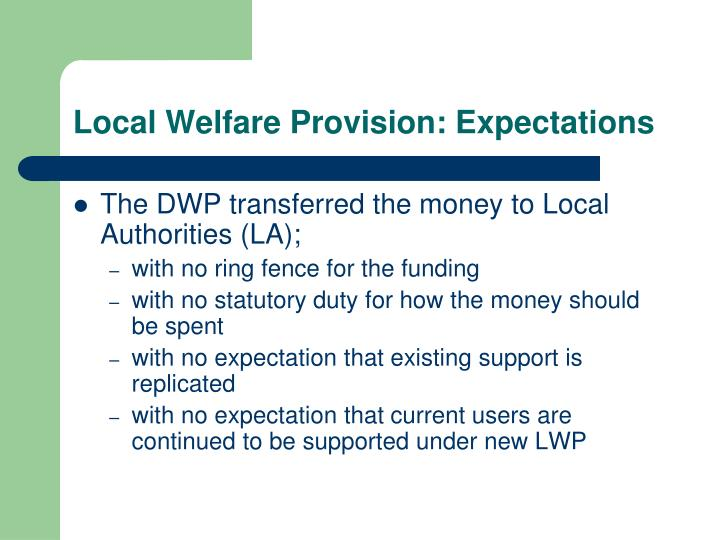 Local welfare provision expectations