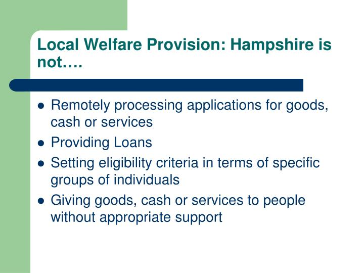 Local Welfare Provision: Hampshire is not….