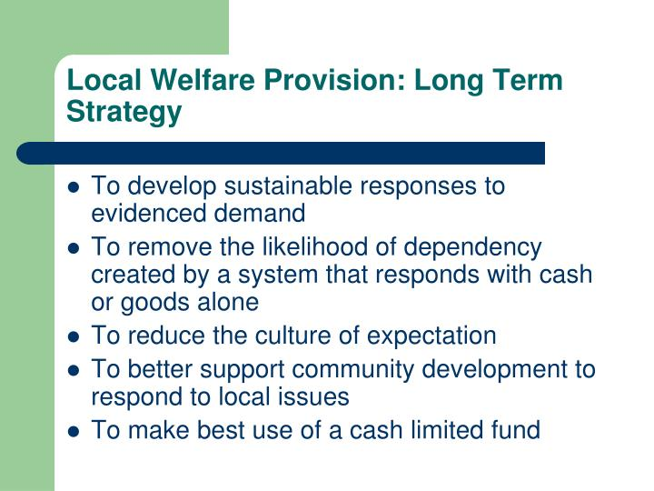 Local Welfare Provision: Long Term Strategy
