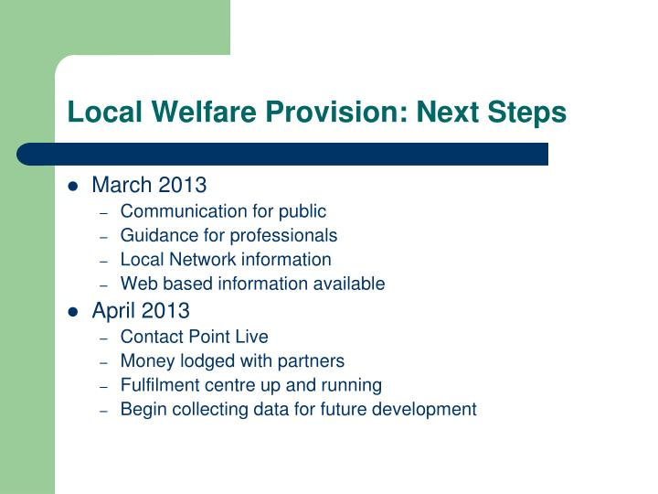 Local Welfare Provision: Next Steps